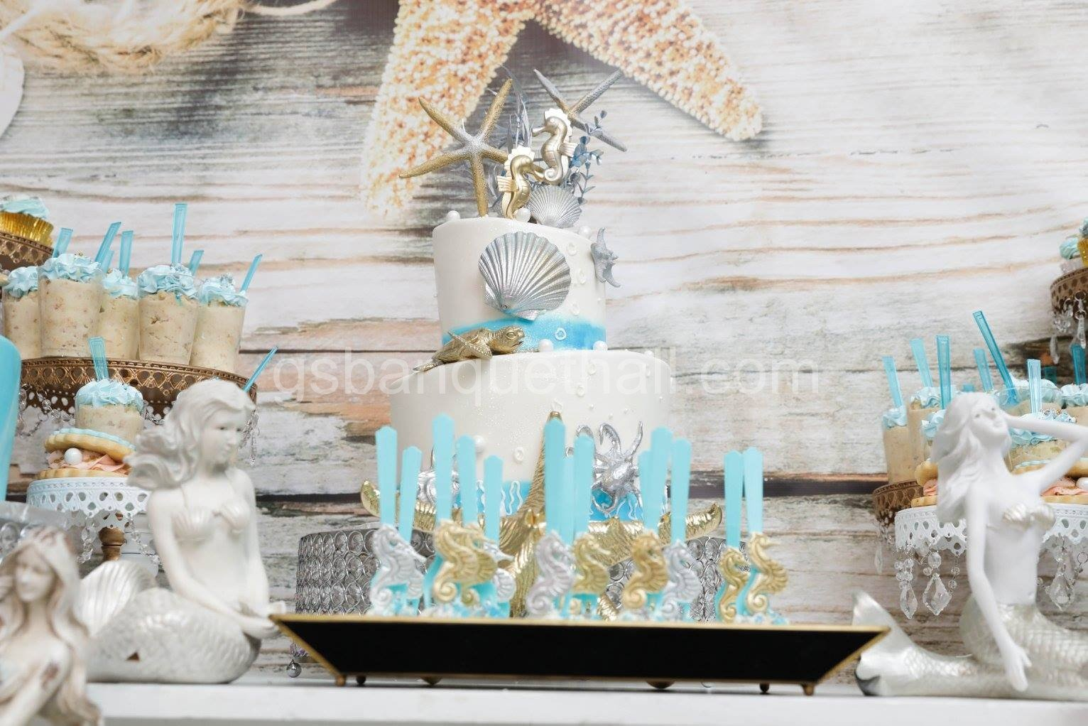 Under the sea decoration baby shower party hall for Baby shower hall decoration