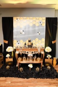 Queen Bee theme decoration, party decoration gold and black